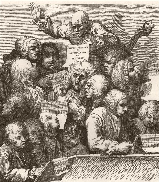 'The Chorus'. After William HOGARTH 1833 old antique vintage print picture