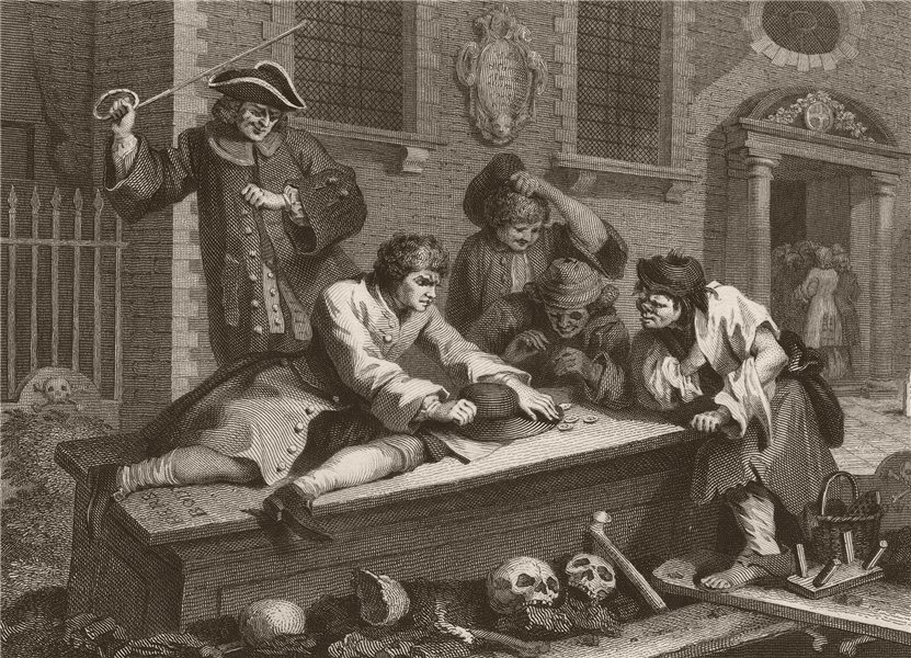 Associate Product INDUSTRY & IDLENESS. Idle 'prentice at play in the Church yard. HOGARTH 1833