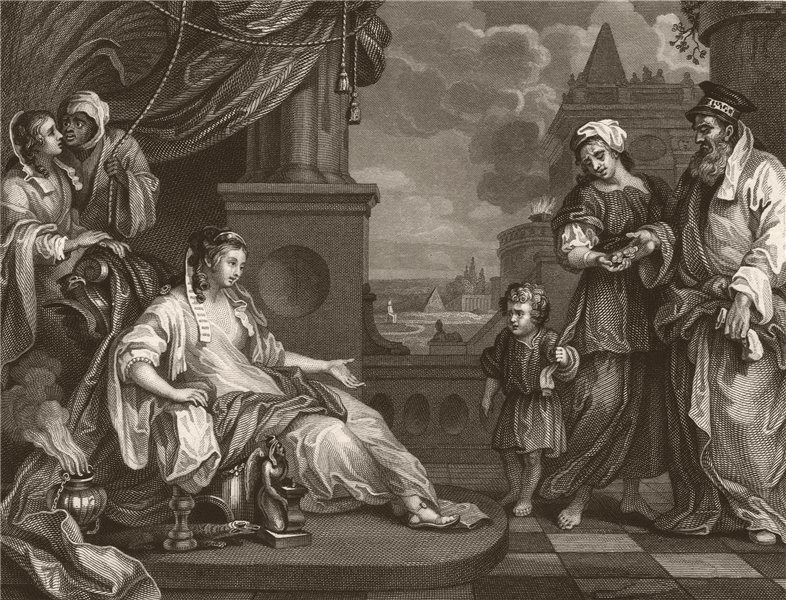 'Moses before Pharaoh's daughter'. After William HOGARTH 1833 old print