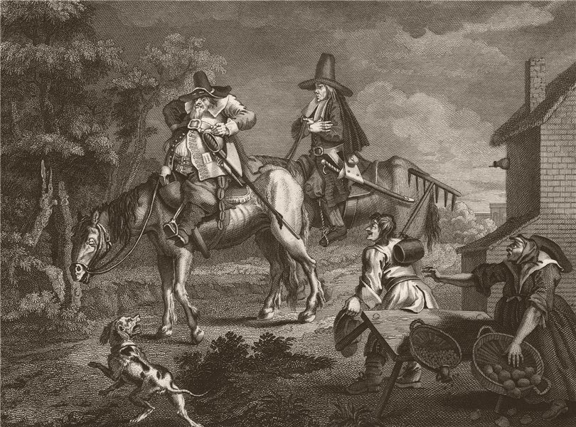 HUDIBRAS. 'The manner how he sallies forth'. After William HOGARTH 1833 print