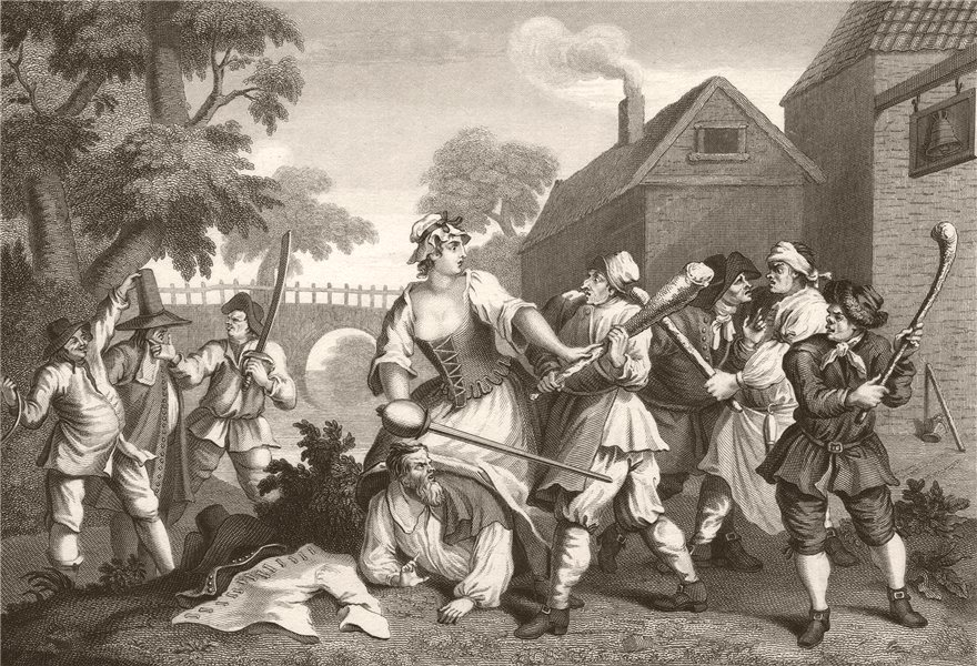 Associate Product HUDIBRAS. 'The Knight submits to Crulla'. After William HOGARTH 1833 old print