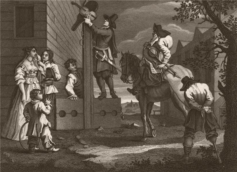 Associate Product HUDIBRAS. 'Leading cromdero in Triumph'. After William HOGARTH 1833 old print