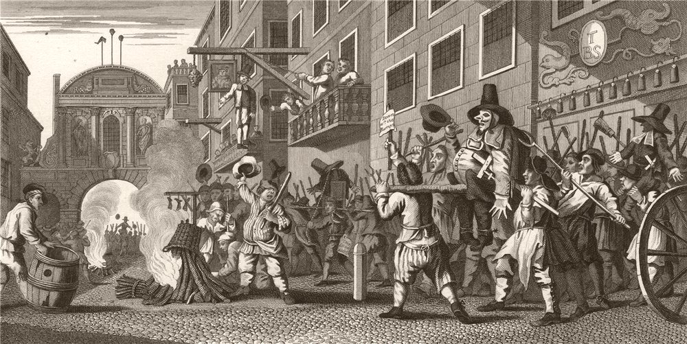 Associate Product HUDIBRAS. 'The burning of the Rumps at Temple Bar'. After William HOGARTH 1833