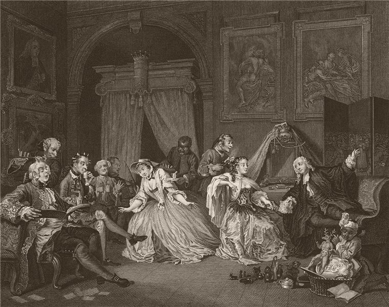 Associate Product MARRIAGE A LA MODE. 'Toilette scene'. After William HOGARTH 1833 old print