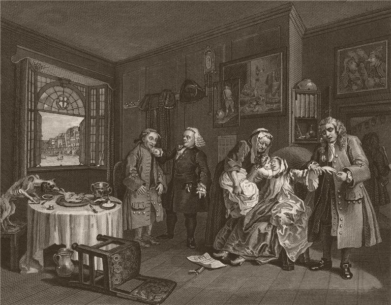 Associate Product MARRIAGE A LA MODE. 'Death of the Countess'. After William HOGARTH 1833 print