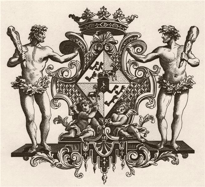 'Arms of the Dutchess of Kendal'. After William HOGARTH 1833 old antique print