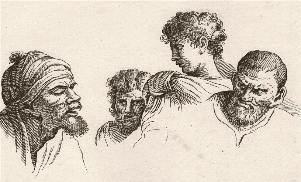 Associate Product 'Heads from the Cartoons at Hampton Court'. After William HOGARTH 1833 print