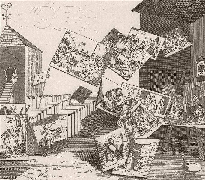 Associate Product 'The battle of the pictures'. After William HOGARTH 1833 old antique print
