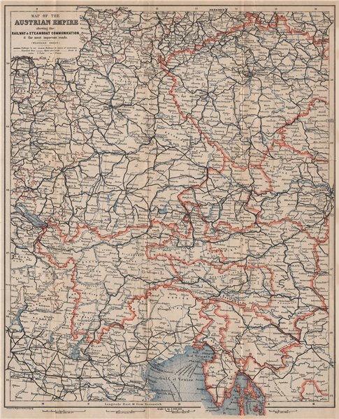 Associate Product AUSTRIAN EMPIRE WEST railways. Czech Republic Croatia Tyrol Germany 1896 map