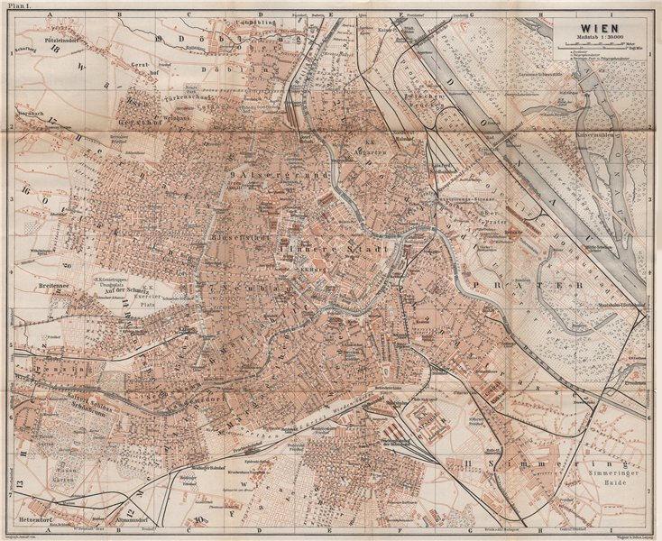 Associate Product VIENNA WIEN antique town city plan stadtplan. Austria Österreich karte 1896 map