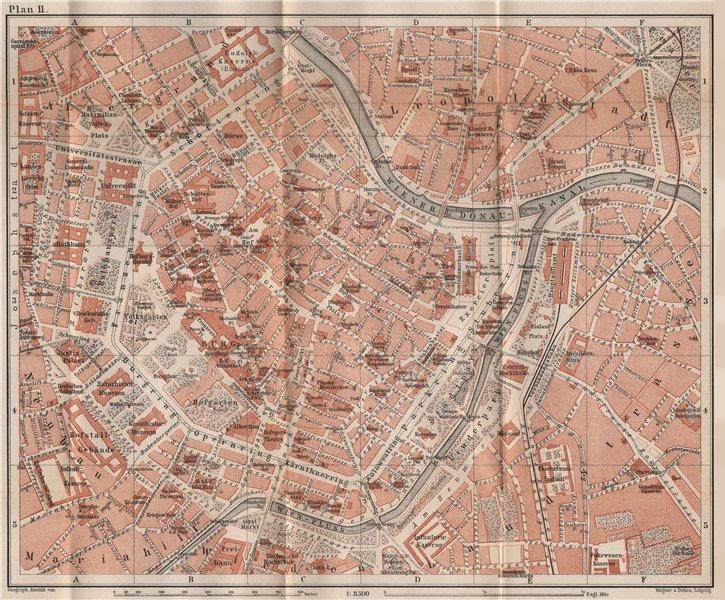 VIENNA city centre. WIEN Burg. Town plan stadtplan. Austria Österreich 1896 map