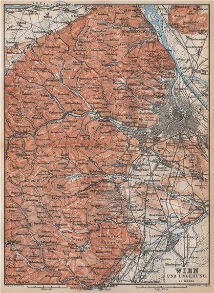 Associate Product VIENNA WIEN environs umgebung. Klosterneuburg Tiergarten Laxenburg 1896 map