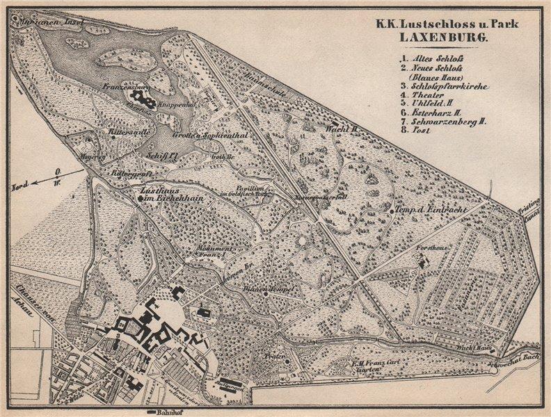 Associate Product LUSTSCHLOSS & PARK LAXENBURG. Castle. Austria Österreich karte 1896 old map