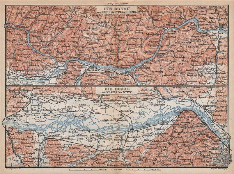 Associate Product DANUBE DONAU RIVER. Grein-Ybbs-Pochlarn-Melk-Spitz-Krems. Austria 1896 old map