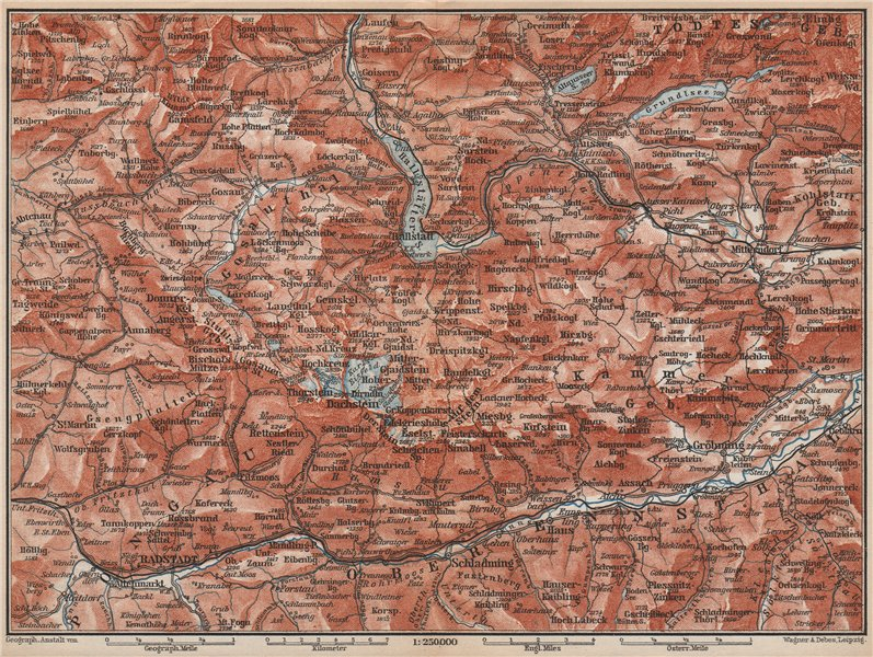 Associate Product SOUTH SALZKAMMERGUT. Bad Aussee Dachstein Schladming Mitterndorf karte 1896 map
