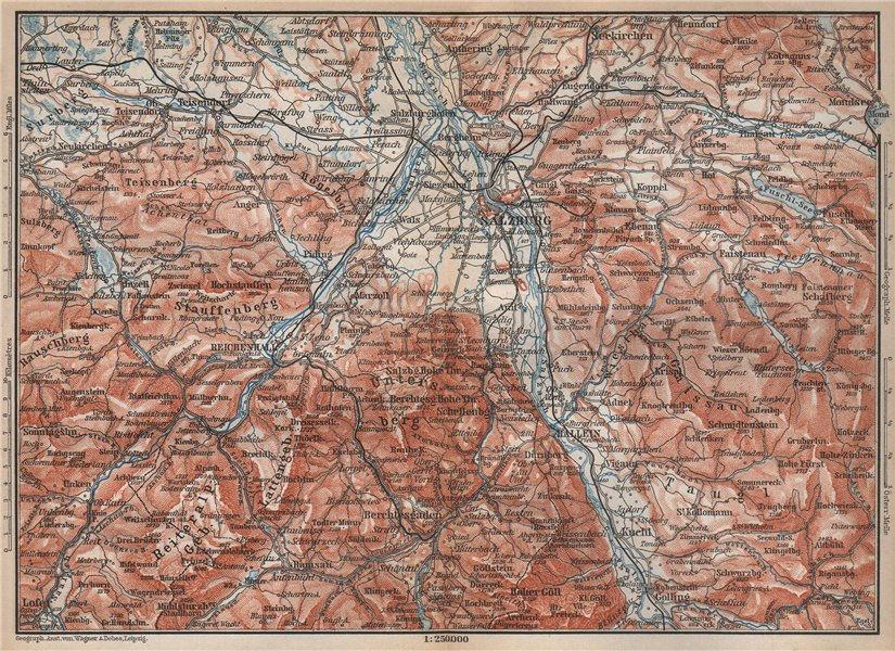SALZBURG environs. Berchtesgaden Faistenau Seekirchen Reichenhall 1896 old map