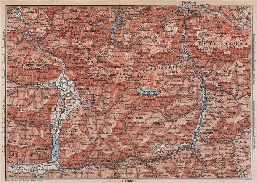 Associate Product KONIGSSEE & ENVIRONS. Saalfelden Tazenbach Golling Zel-am-See Wagrain 1896 map
