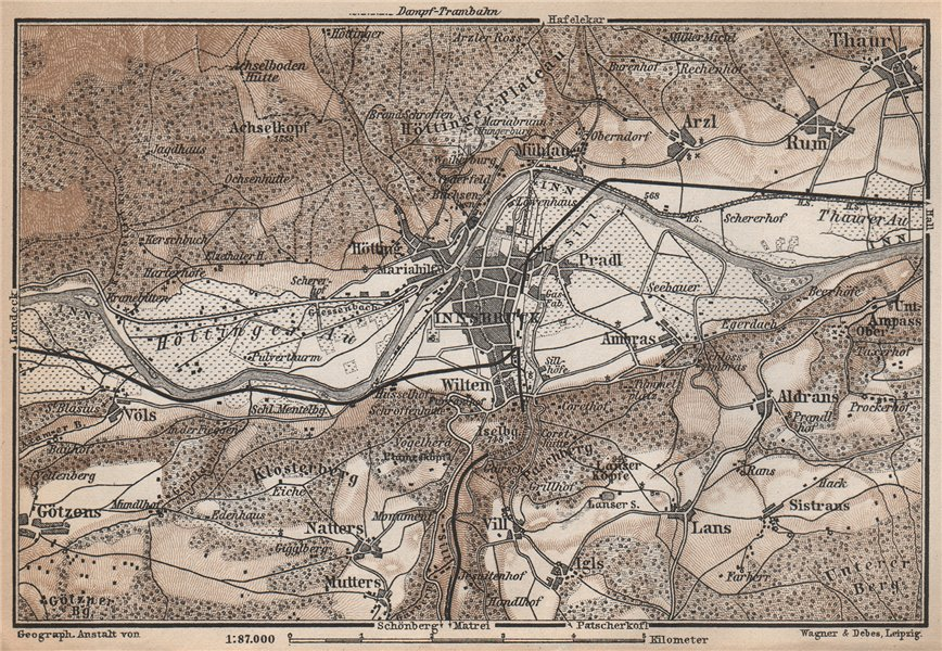 Associate Product INNSBRUCK ENVIRONS Umgebung. Thaur Gotzens Igls. Austria Österreich 1896 map