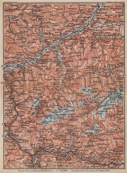 Associate Product ZILLERTHAL/PUSTERTHAL. Igls Mayrhofen Söll Gerlos Oberau Brixen Fügen 1896 map