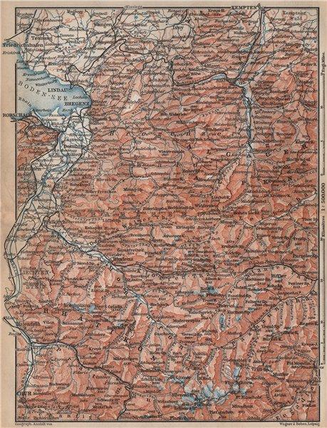 Associate Product VORARLBERG & BREGENZER WALD. Bludenz St Anton Zürs Lech See Ischgl 1896 map