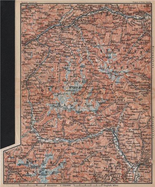 TYROL/ UPPER INNTHAL ÖTZTHALER ORTLER STUBAIER ALPEN topo-map. Austria 1896