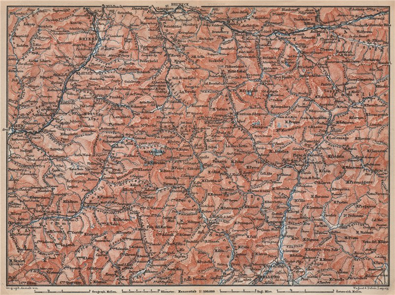 Associate Product DOLOMITE ALPS DOLOMITI Brixen Bressanone Kronplatz Val Gardena Cortina 1896 map