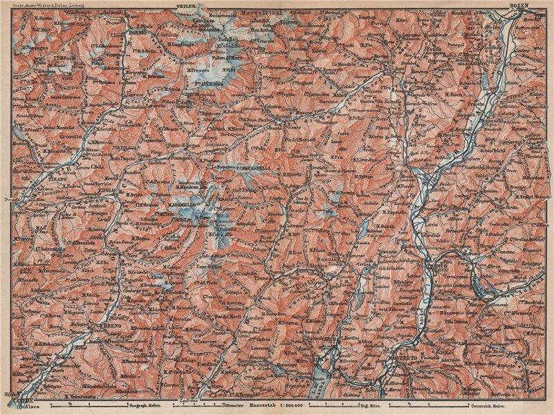 Associate Product TRENTINO-ALTO ADIGE. Bolzano Bormio S. Caterina Aprica Campiglio mappa 1896
