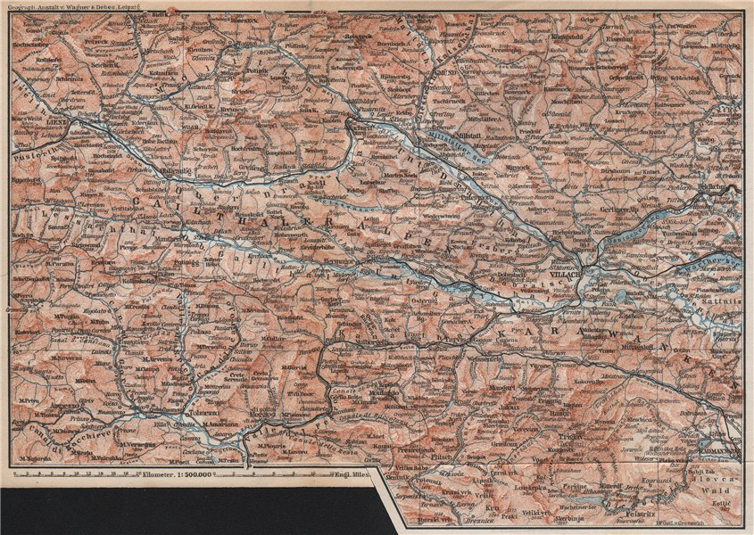 Associate Product CARINTHIAN ALPS Lienz Villach Triglav Lake Bled Austria Italy Slovenia 1896 map