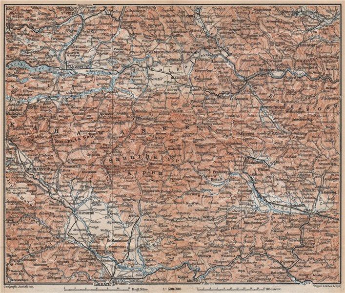 Associate Product KARAWANKEN & SANNTHALER ALPEN. Klagenfurt Ljubljana Kranj. Carinthia 1896 map
