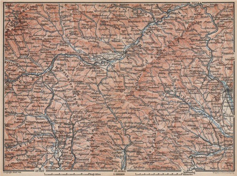 Associate Product STYRIAN & CARINTHIAN ALPS. Murau Graz Murtal Leoben Wolfsburg. Austria 1896 map