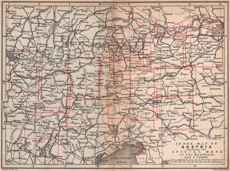Associate Product AUSTRIA. Austrian Empire. Index map karte. BAEDEKER 1896 old antique chart