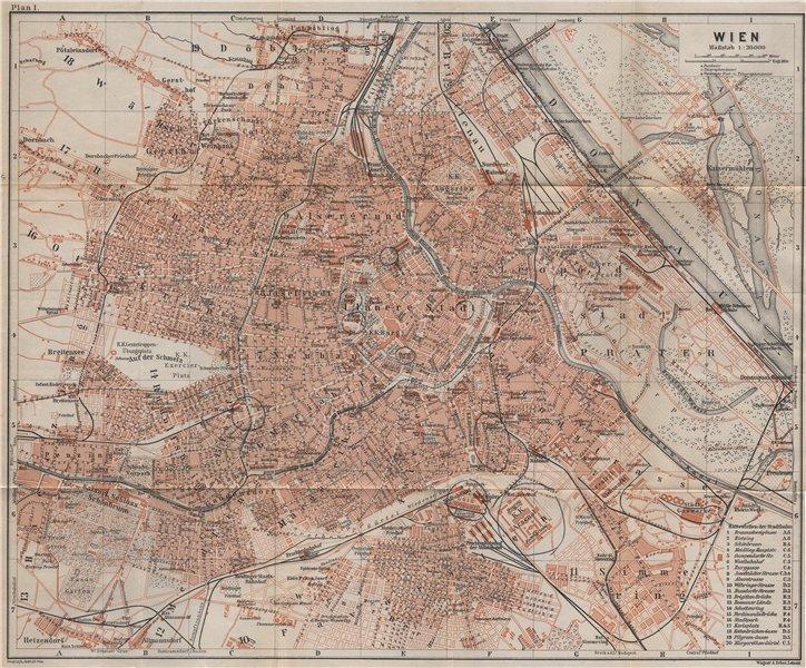 Associate Product VIENNA WIEN antique town city plan stadtplan. Austria Österreich karte 1905 map
