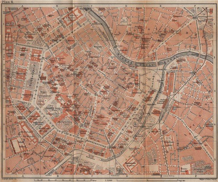 Associate Product VIENNA city centre. WIEN Burg. Town plan stadtplan. Austria Österreich 1905 map