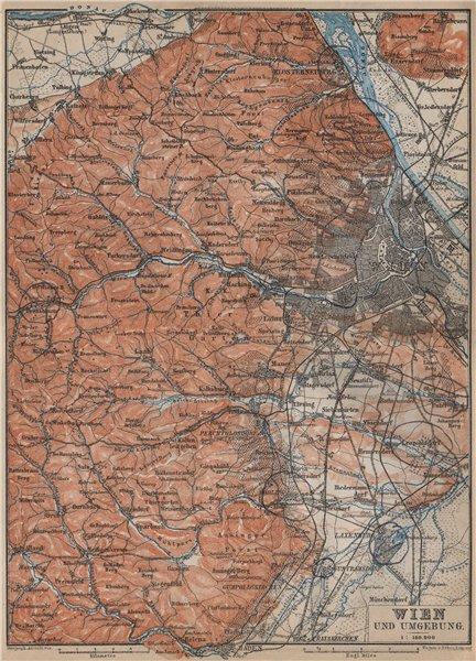 Associate Product VIENNA WIEN environs umgebung. Klosterneuburg Tiergarten Laxenburg 1905 map