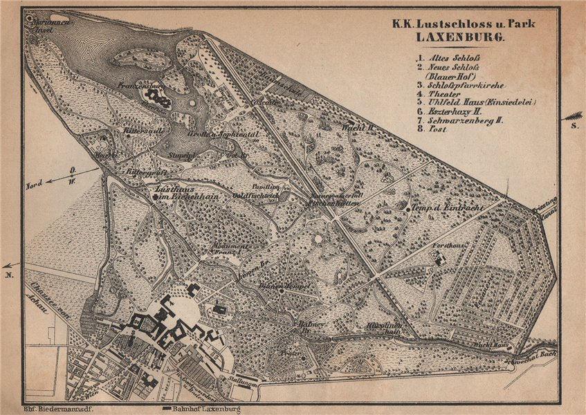 Associate Product LUSTSCHLOSS & PARK LAXENBURG. Castle. Austria Österreich karte 1905 old map