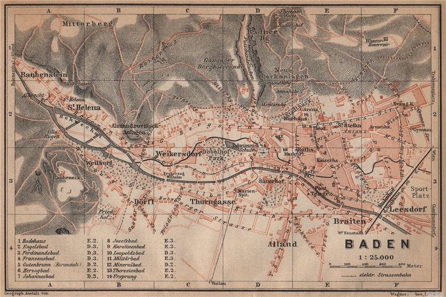 Associate Product BADEN BEI WIEN /nr Vienna town city plan stadtplan. Austria Österreich 1905 map
