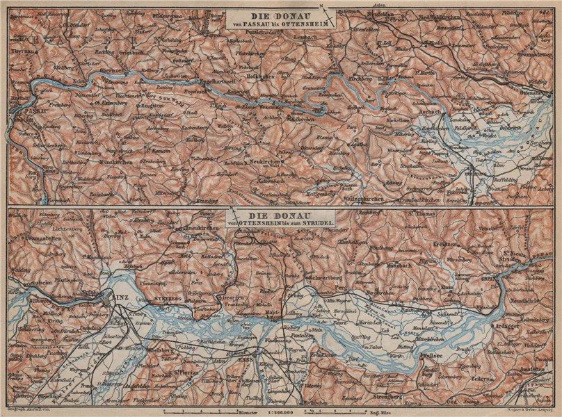 Associate Product DANUBE DONAU RIVER. Passau-Ottensheim-Linz-Enns-Grein. Austria karte 1905 map