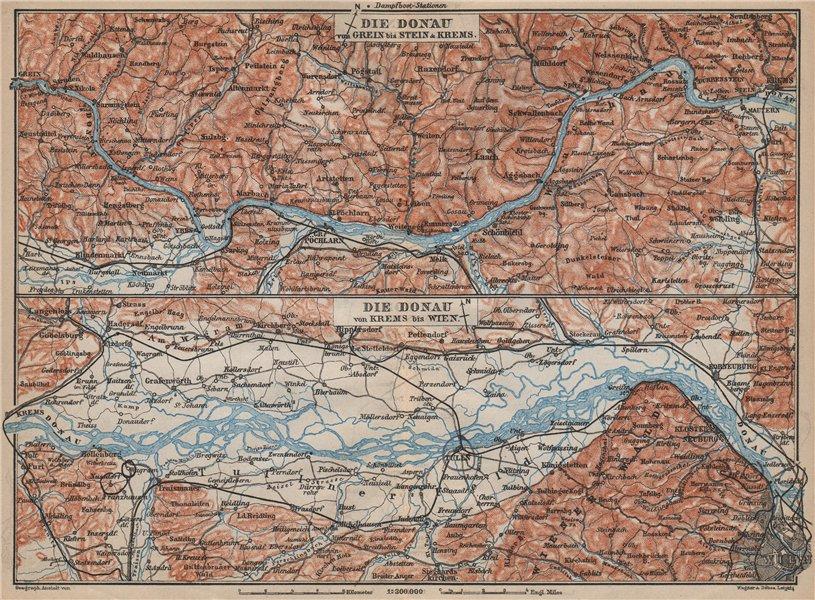 Associate Product DANUBE DONAU RIVER. Grein-Ybbs-Pochlarn-Melk-Spitz-Krems. Austria 1905 old map