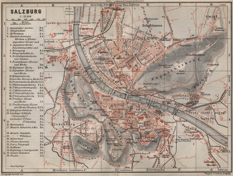 Associate Product SALZBURG antique town city plan stadtplan. Austria Österreich karte 1905 map