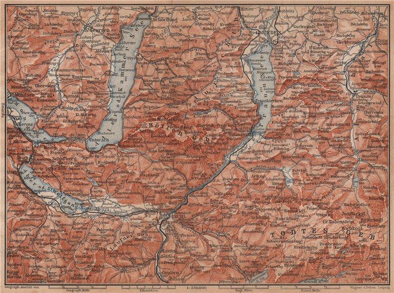 Associate Product NORTH SALZKAMMERGUT. Gmunden Ischl Hallstatt. Altmunster Ebensee karte 1905 map