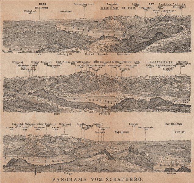 Associate Product PANORAMA VOM SCHAFBERG, Salzkammergut. Austria Österreich karte 1905 old map