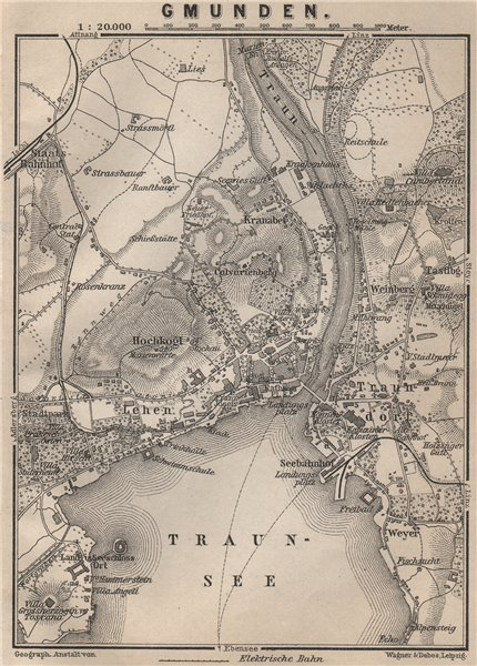 Associate Product GMUNDEN antique town city plan stadtplan. Austria Österreich karte 1905 map