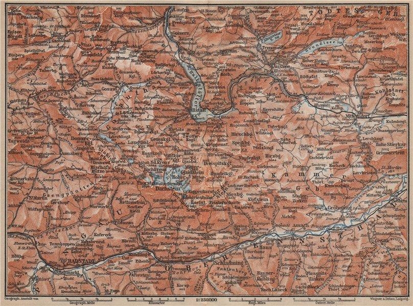 Associate Product SOUTH SALZKAMMERGUT. Bad Aussee Dachstein Schladming Mitterndorf karte 1905 map