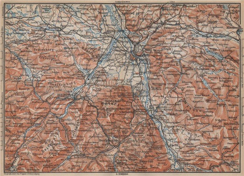Associate Product SALZBURG environs. Berchtesgaden Faistenau Seekirchen Reichenhall 1905 old map