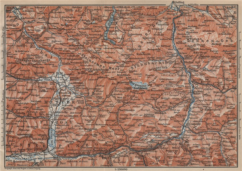 Associate Product KONIGSSEE & ENVIRONS. Saalfelden Tazenbach Golling Zel-am-See Wagrain 1905 map