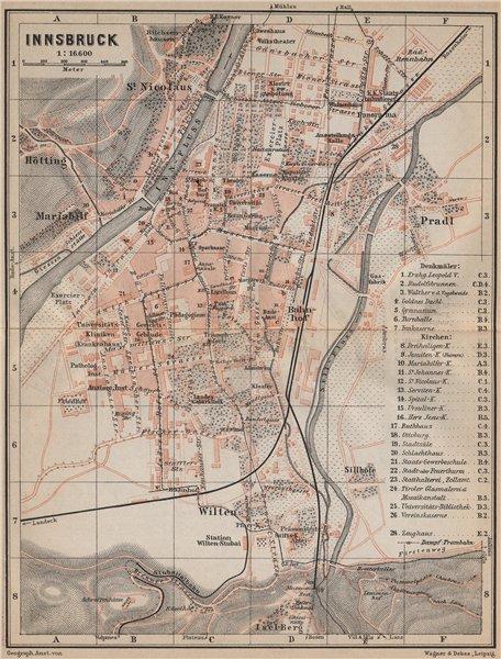Associate Product INNSBRUCK antique town city plan stadtplan. Austria Österreich karte 1905 map
