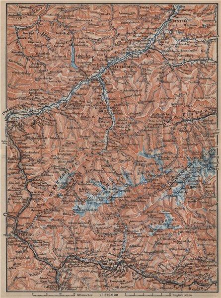 Associate Product ZILLERTHAL/PUSTERTHAL. Igls Mayrhofen Söll Gerlos Oberau Brixen Fügen 1905 map