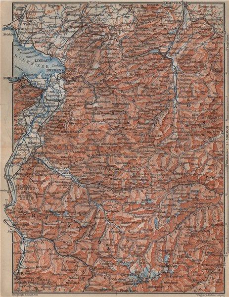 Associate Product VORARLBERG & BREGENZER WALD. Bludenz St Anton Zürs Lech See Ischgl 1905 map