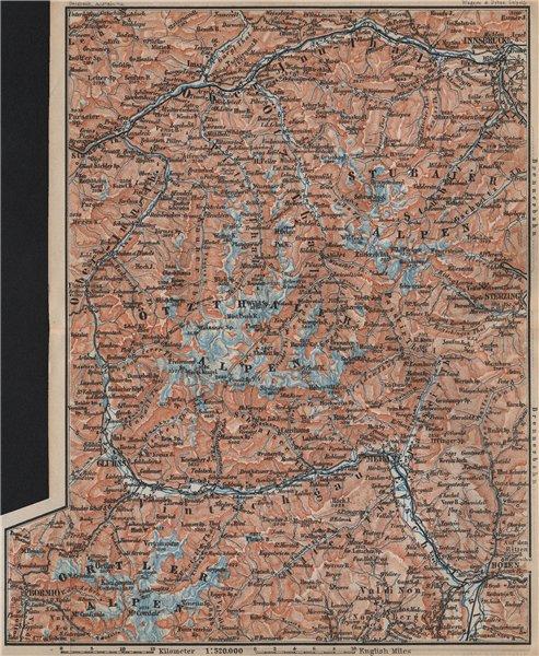 Associate Product TYROL/ UPPER INNTHAL ÖTZTHALER ORTLER STUBAIER ALPEN topo-map. Austria 1905