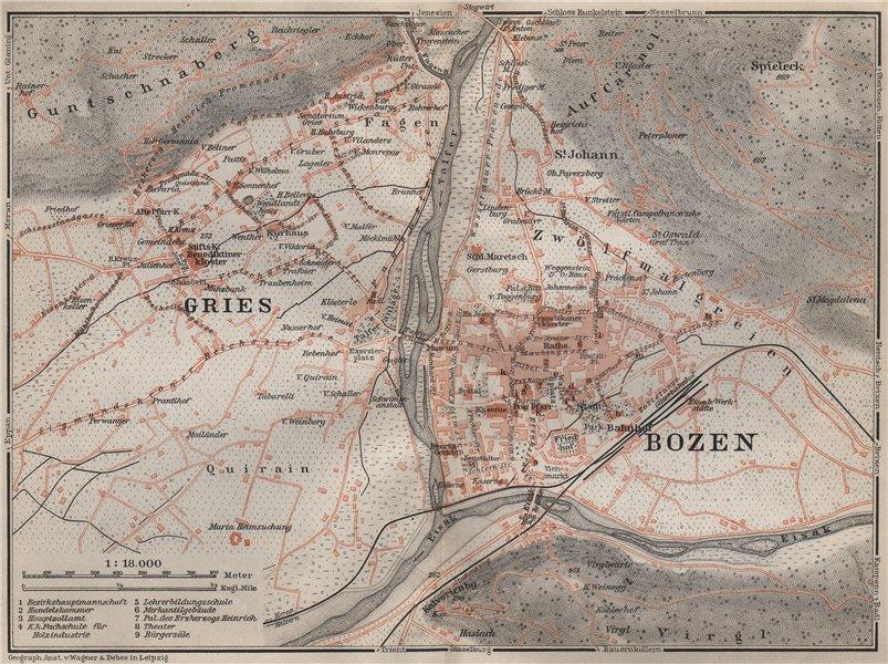 Associate Product BOLZANO (BOZEN) environs. Gries. town city plan. Italy mappa. BAEDEKER 1905